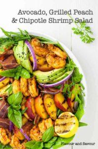Avocado Grilled Peach and Chipotle Shrimp Salad