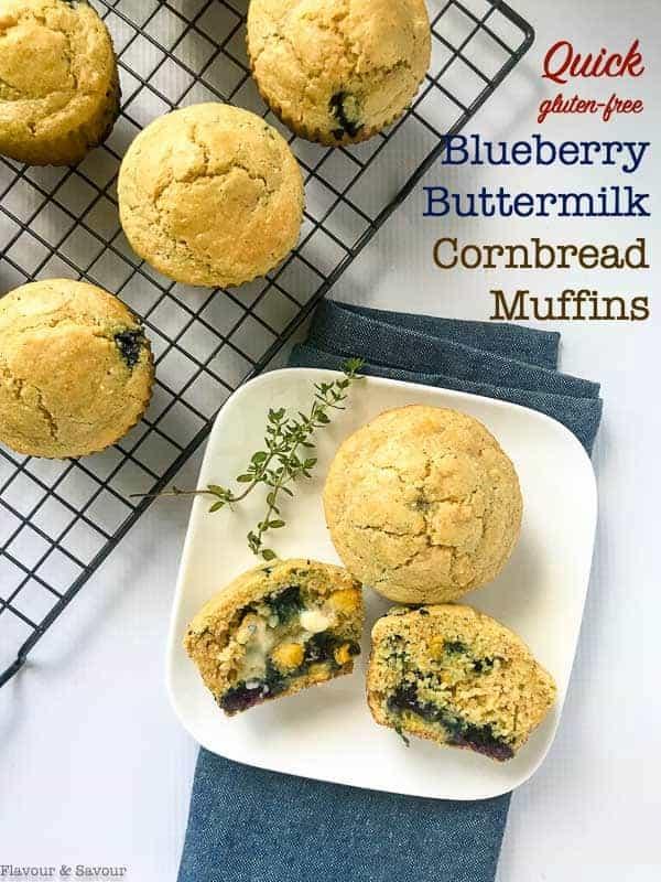 Healthy Blueberry Buttermilk Gluten-Free Cornbread Muffins