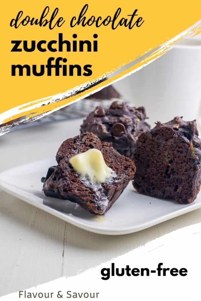 Graphic for Double Chocolate Zucchini Muffins with text overlay
