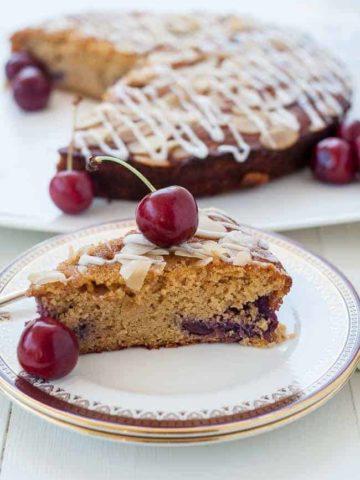 Flourless Cherry Almond Ricotta Cake with fresh cherries.