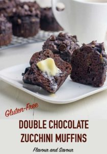 Gluten-Free Double Chocolate Zucchini Muffins with title