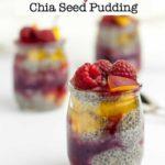 Mini Raspberry Peach Chia Seed Pudding with fresh raspberries.