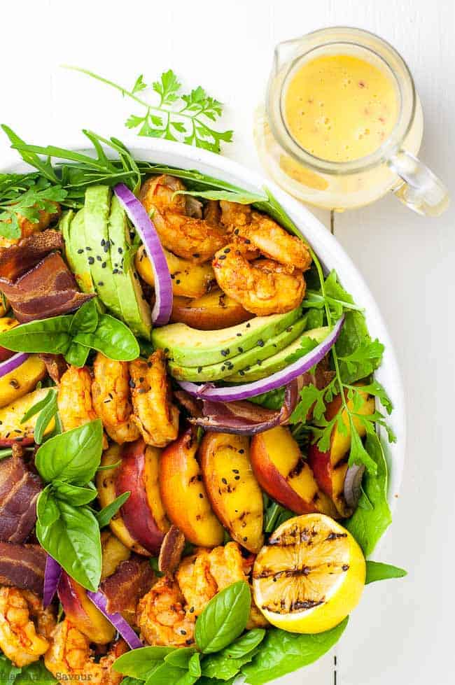 Avocado Grilled Peach and Chipotle Shrimp Salad with dressing on the side