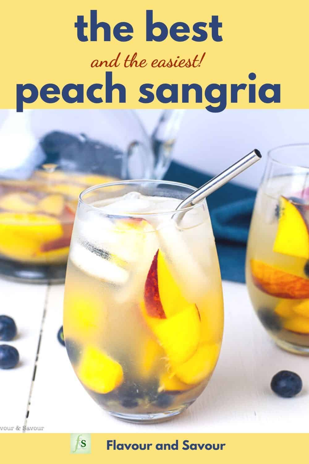 The best and easiest Peach Sangria text overlay Pinterest Pin
