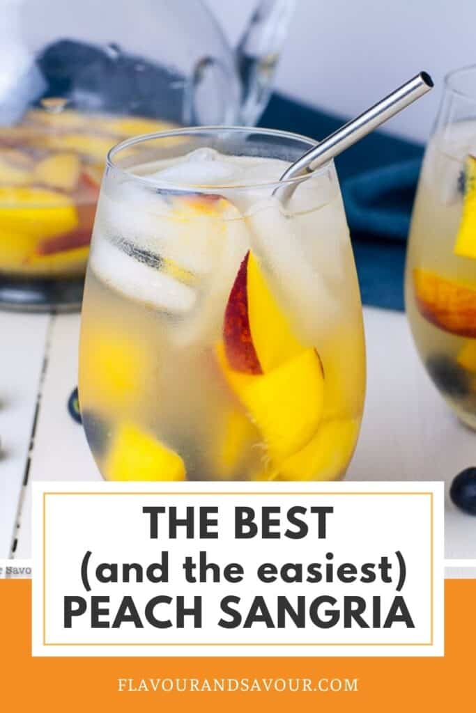 image and text for the best peach sangria recipe