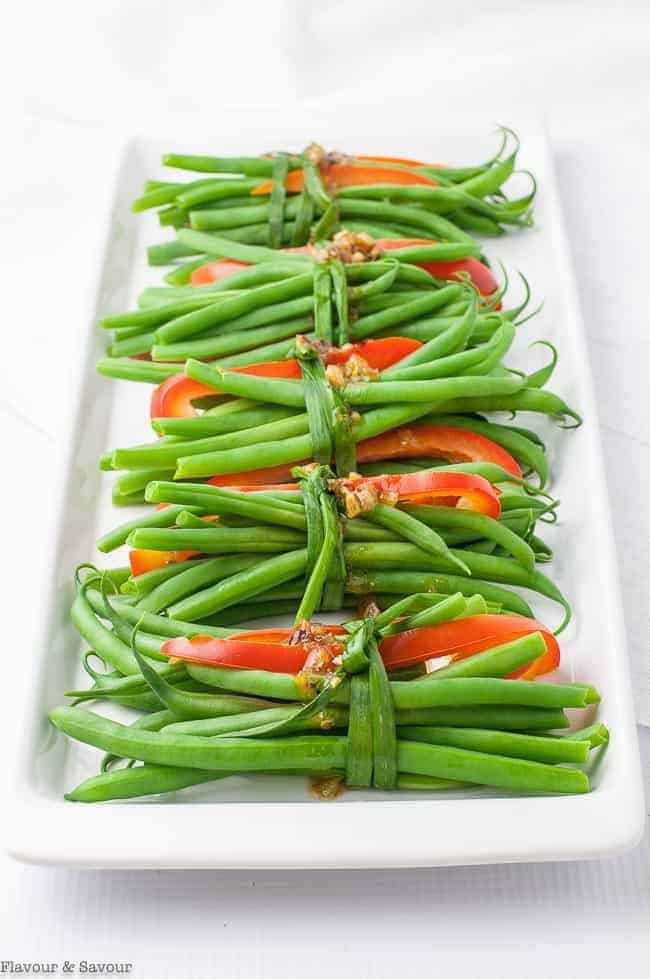 Vegetarian Green Bean Bundles with Garlic butter
