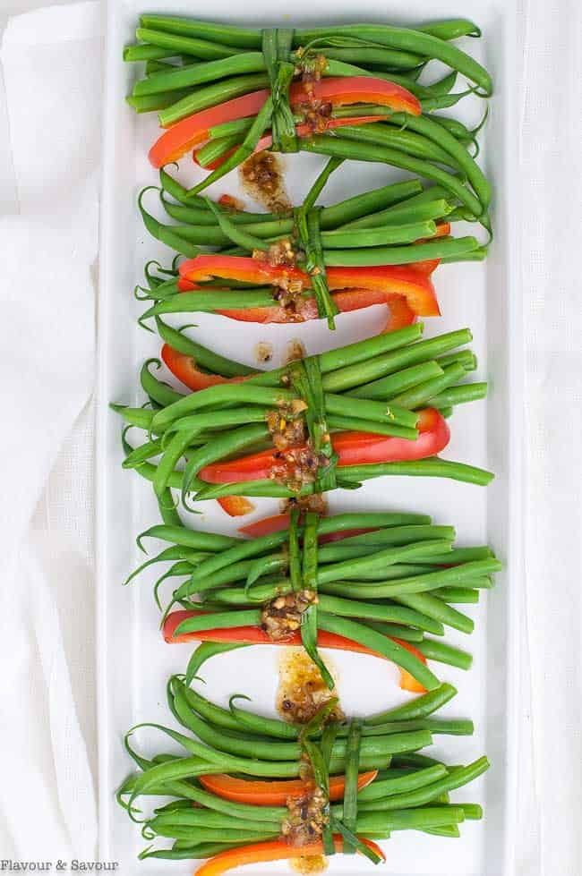 Vegetarian Green Bean Bundles with Garlic butter overhead view