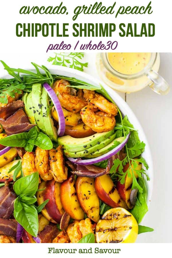 Avocado Grilled Peach and Chipotle Shrimp Salad title