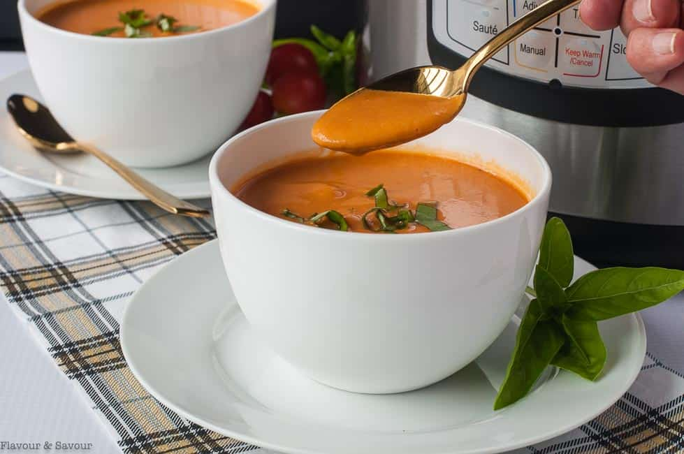 A spoonful of Instant Pot Creamy Tomato Soup