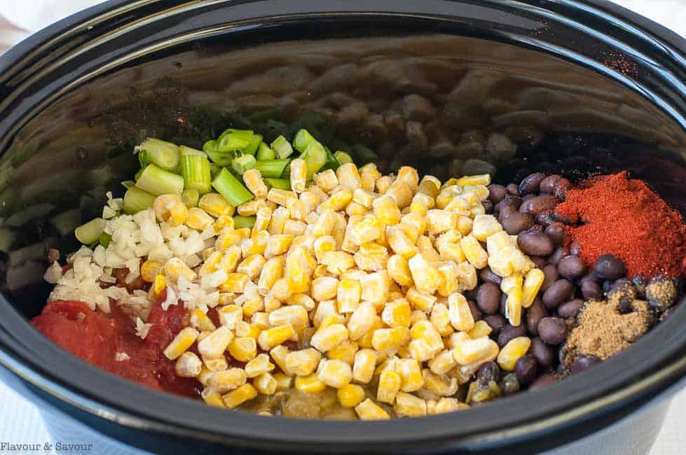 Ingredients for Slow Cooker Vegan Texas Black Bean Soup in slow cooker