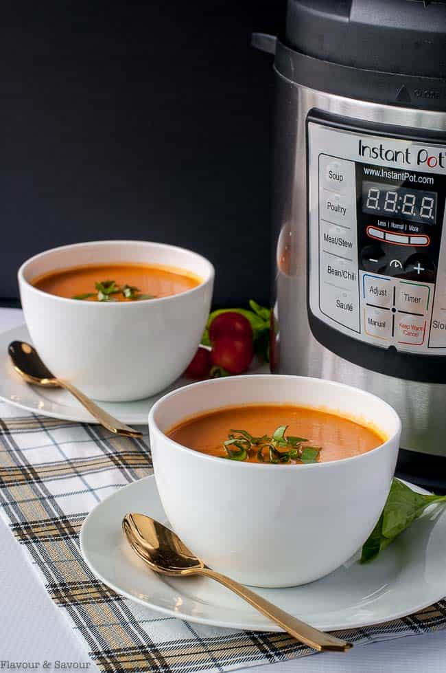 Instant Pot Creamy Tomato Soup with Instant Pot in the background