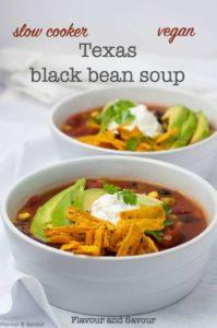 Slow Cooker Vegan Texas Black Bean Soup title