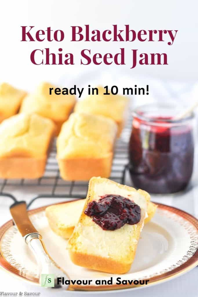 Text overlay on image of blackberry jam with mini loaves