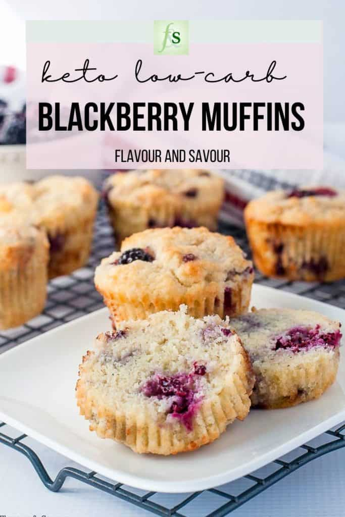 Text and image for keto low-carb blackberry muffins