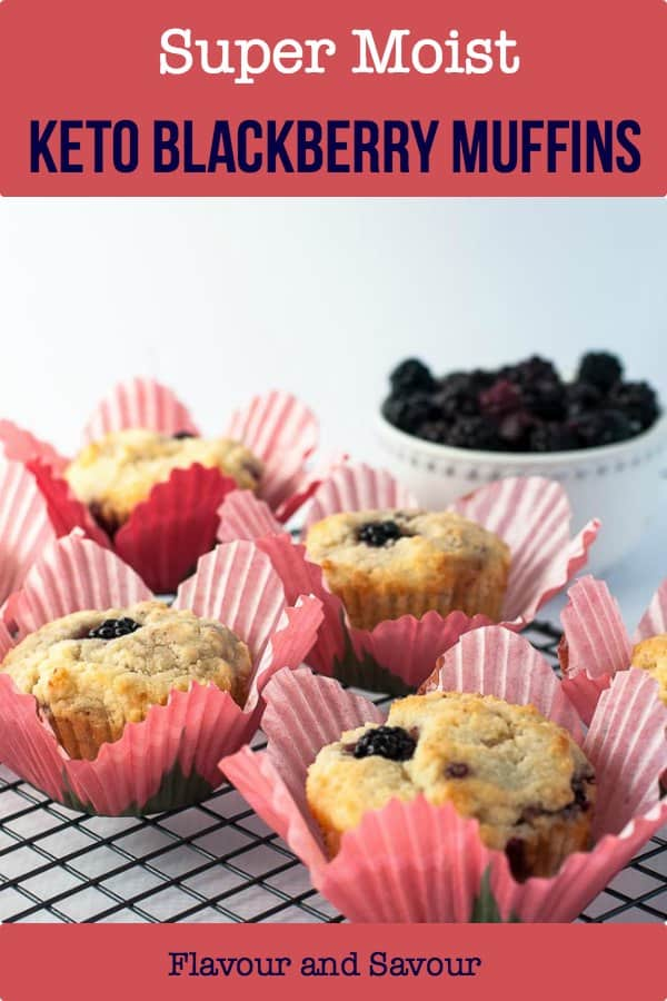 Made with almond flour, these blackberry muffins are keto-friendly, super moist, and quick to prepare. They're sugar-free, dairy-free, and gluten-free. #keto #sugarfree #dairyfree #glutenfree #blackberry #paleo #lowcarb #muffin
