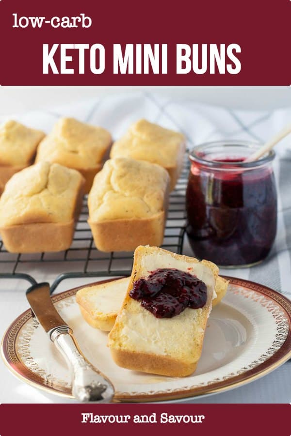 These Keto Low-Carb Mini Buns are quick and easy. Made with almond flour, they're nutrient dense and filling but have a traditional bread-like texture. Delicious plain with a pat of butter or serve with nut butters, cheese, or chia seed jam. #keto #buns #mini #almondflour #quick #lowcarb #flavourandsavour