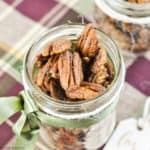 close up view of Pumpkin Spice Pecans in a gift jar