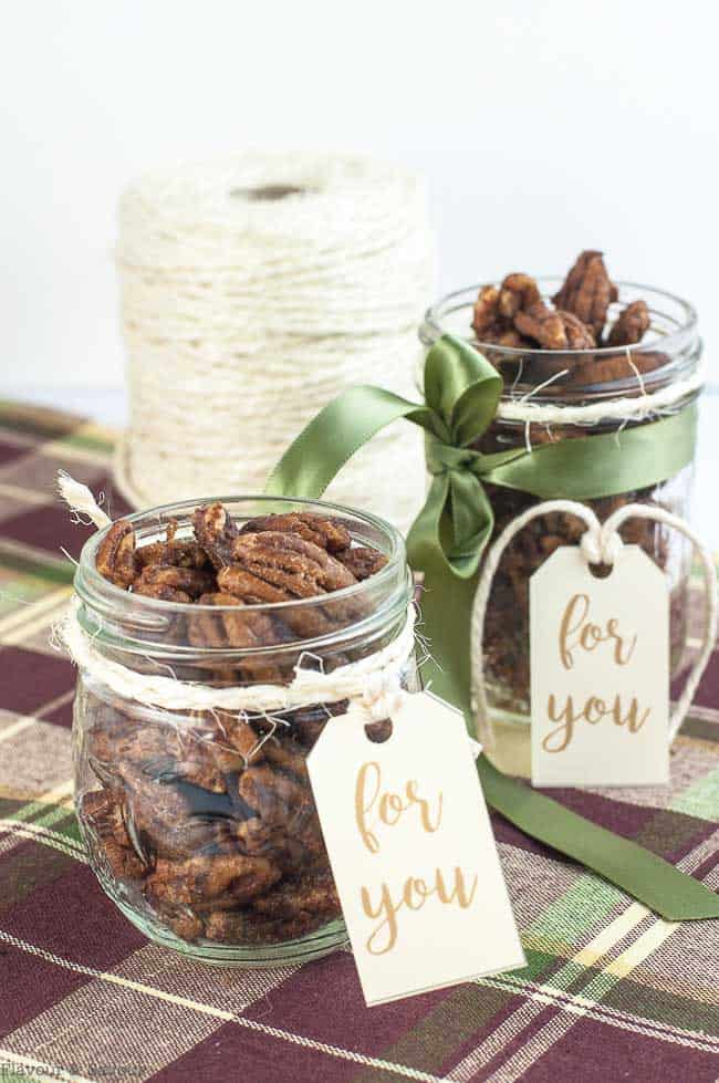 Two gift jars of Low-Carb Roasted Pumpkin Spice Pecans