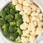 Preparing Vegetables for Cheesy Bacon Broccoli Cauliflower Casserole