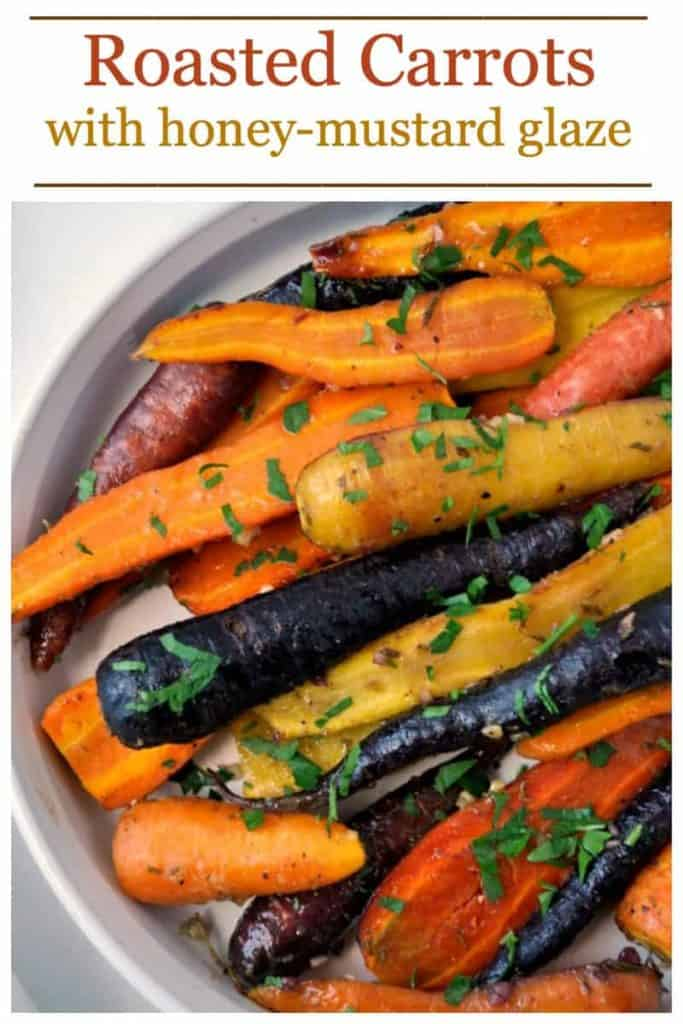 Pinterest pin for Roasted Carrots with Honey-Mustard Glaze