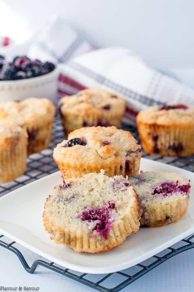 Ultra Moist Keto Blackberry Muffins on a cooling rack