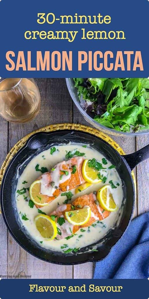30 minute Creamy Lemon Salmon Piccata in a cast iron pan