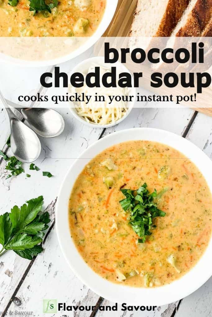 Image with text for Broccoli Cheddar Soup