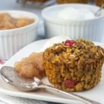 Cranberry Apple Pumpkin baked Oatmeal muffin with applesauce and yogurt