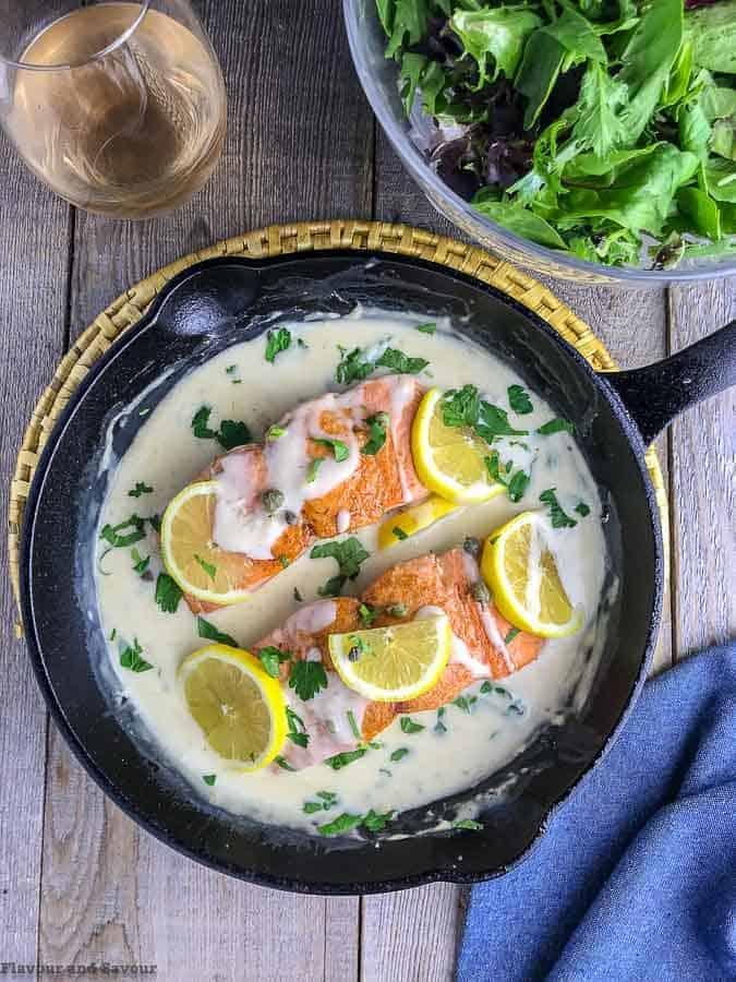 Video Pinterest pin for Creamy Lemon Salmon Piccata