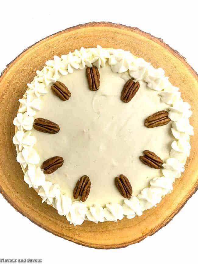 Creamy Gluten-Free Pumpkin Cheesecake overhead view of whole cake