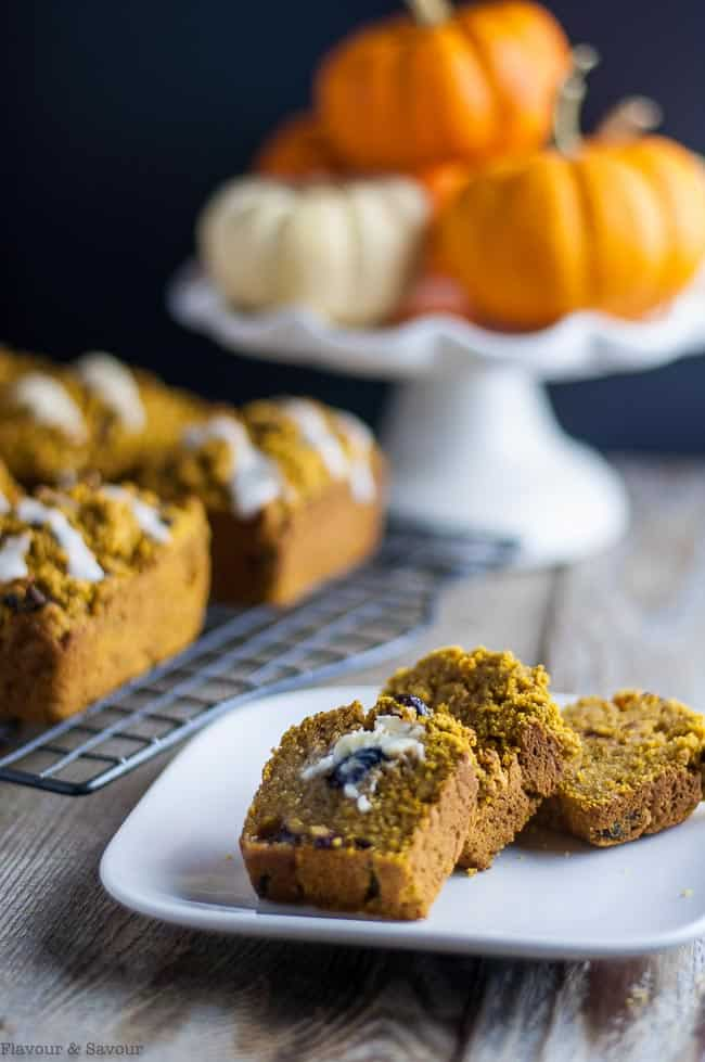 Mini Gluten-Free Dairy-Free Pumpkin Bread or Muffins with melted butter