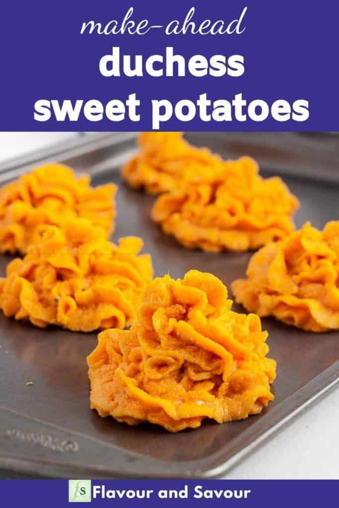Image with text overlay for Duchess Sweet Potatoes