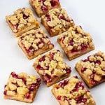 Paleo Pomegranate Apple Crumble Bars cut into squares