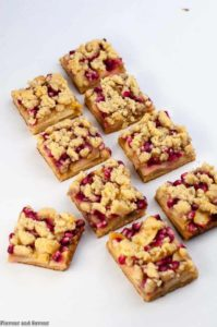 Paleo Pomegranate Apple Crumble Bars cut into squares