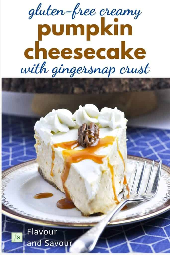 Text overlay on image of Pumpkin Cheesecake