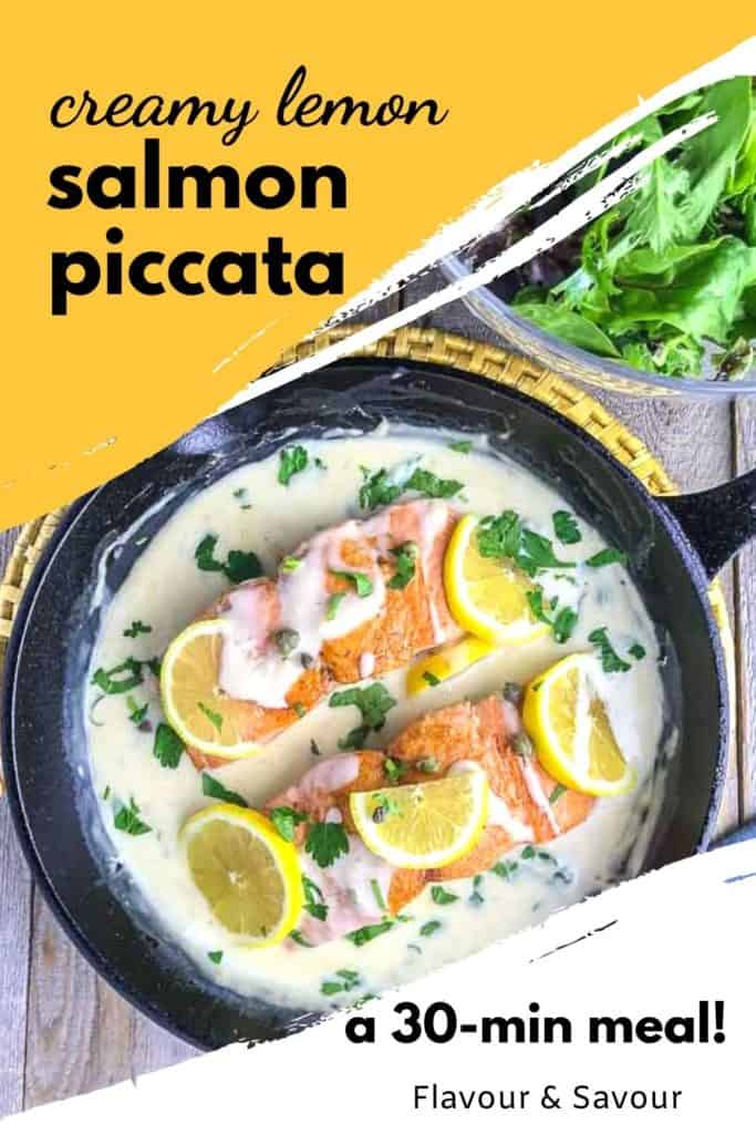 Pinterest pin for Creamy Lemon Salmon PIccata
