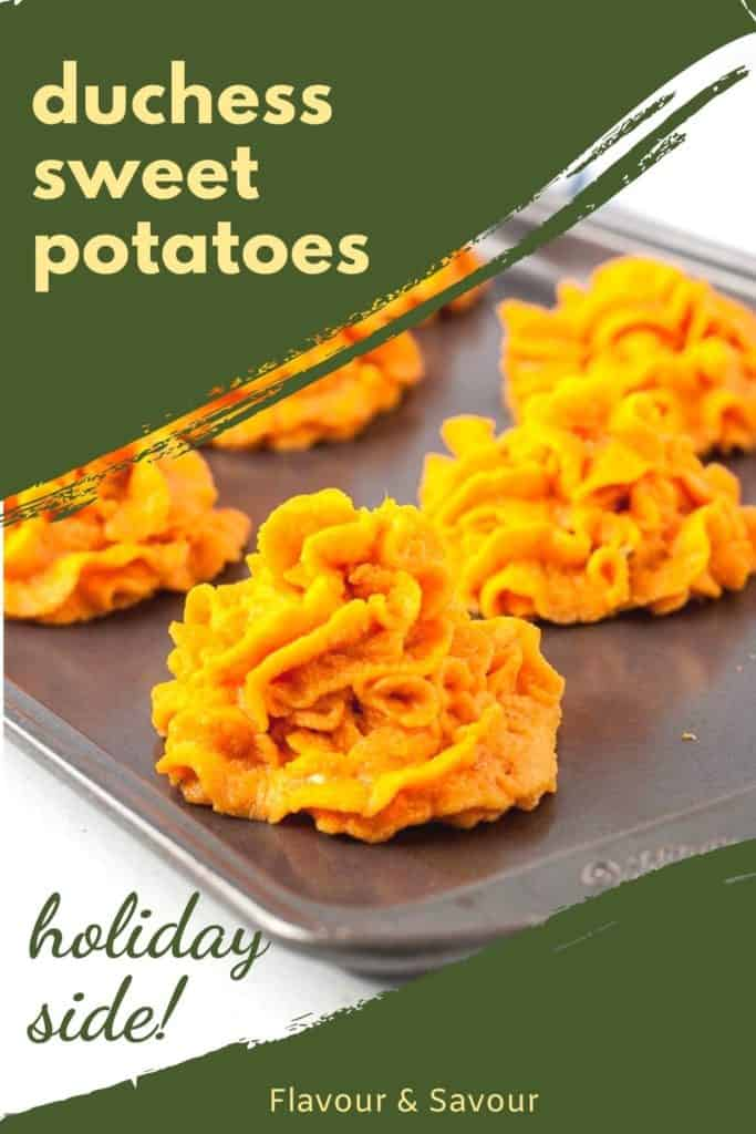 Pinterest Image with text for Duchess Sweet Potatoes