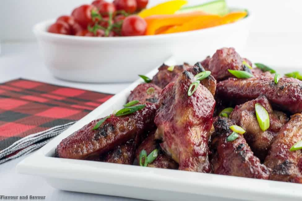 Cranberry Glazed Chili Chicken Wings on a serving platter