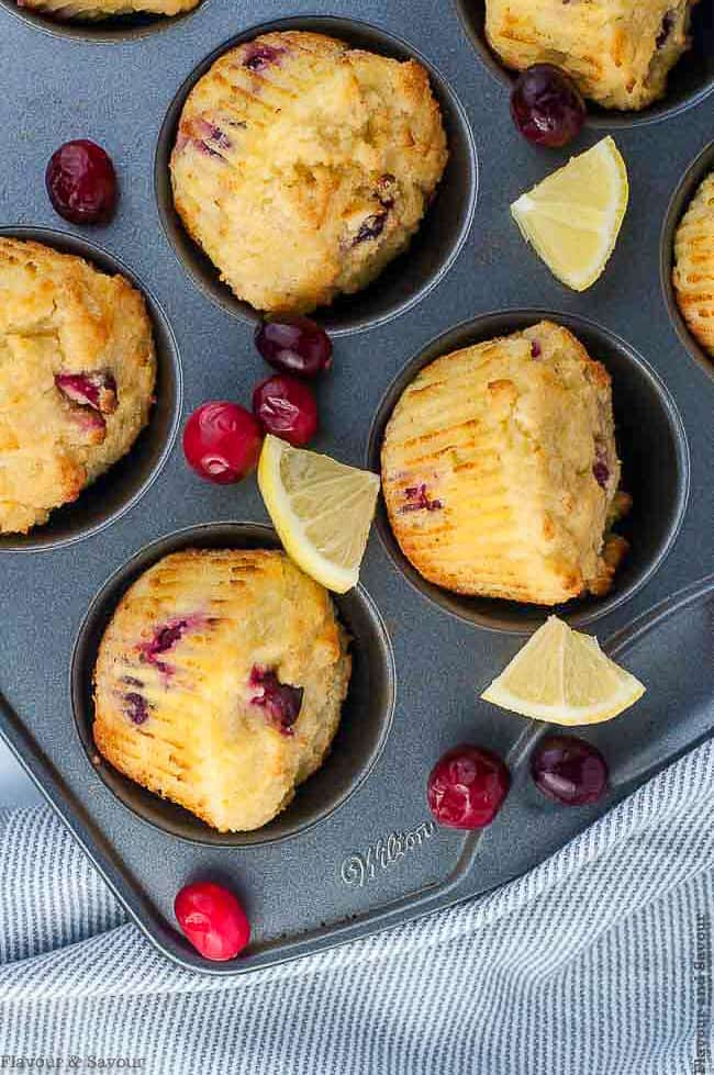 Baked Cranberry Lemon Muffins in a muffin tin