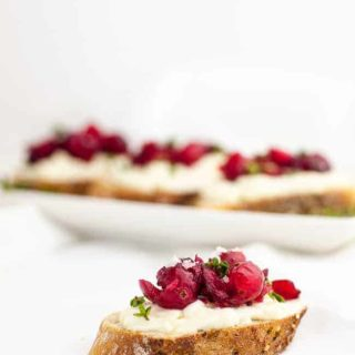 Cranberry Whipped Ricotta Crostini