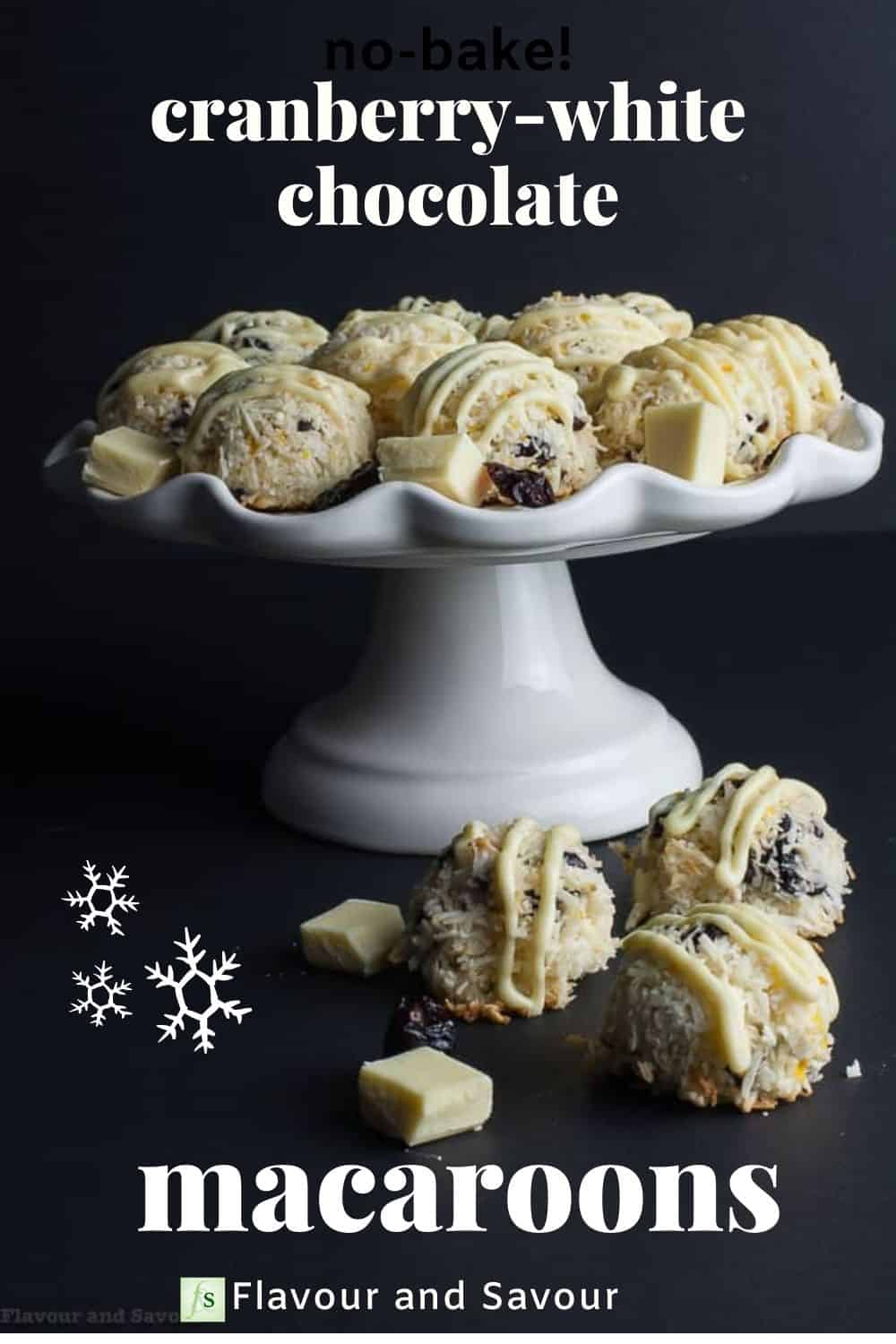 Text and image for Cranberry White Chocolate macaroons
