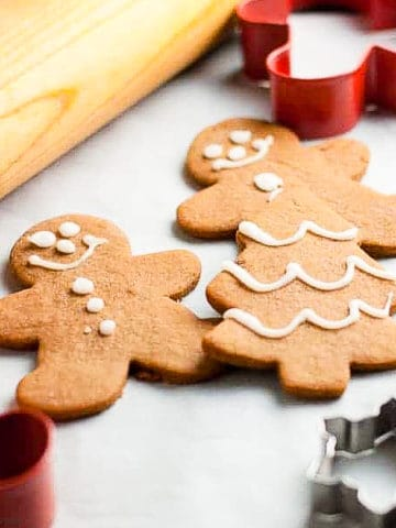 Gingerbread People cookies with cookie cutters