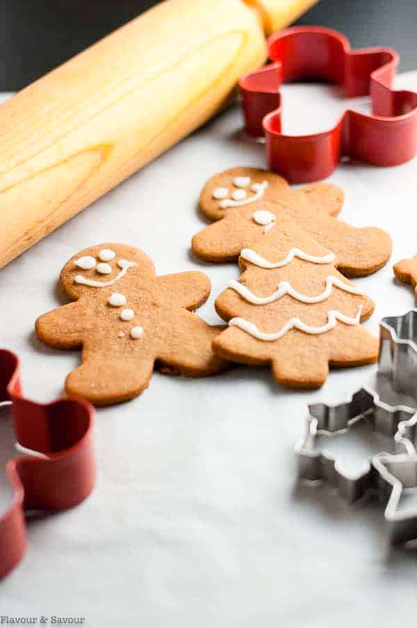 Gingerbread Cut-Out cookies with a rolling pin and cookie cutters