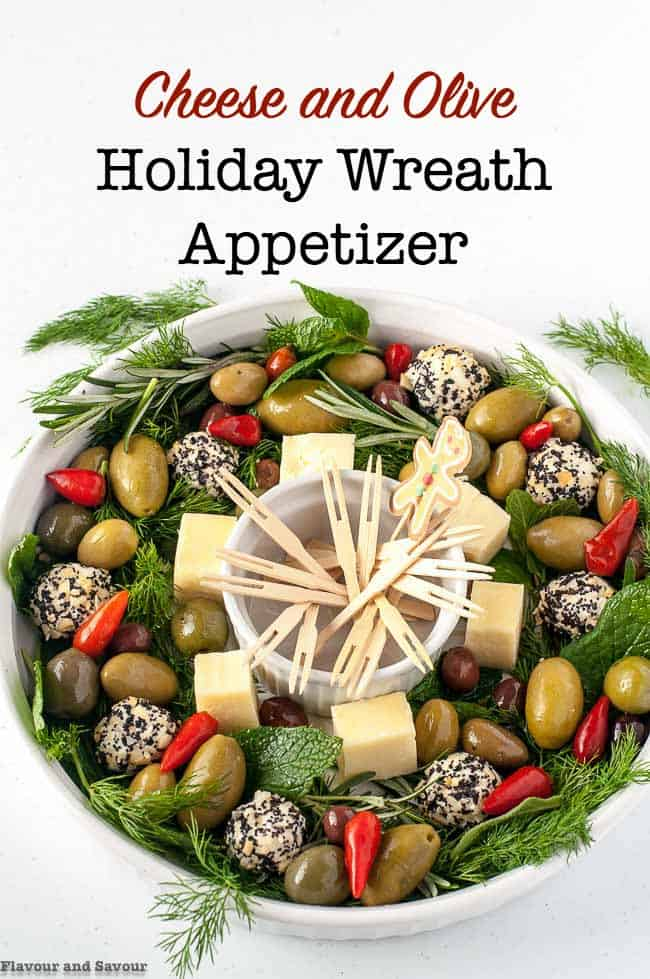 Holiday Cheese and Olive Wreath Appetizer, one of 20 easy finger food appetizers on Flavour and Savour