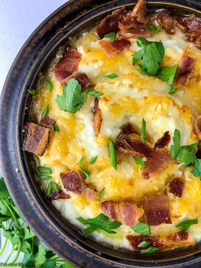 Instant Pot Mashed Cauliflower with Bacon and Cheese close up