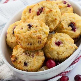 Gluten-Free Cranberry Lemon Muffins in a basket