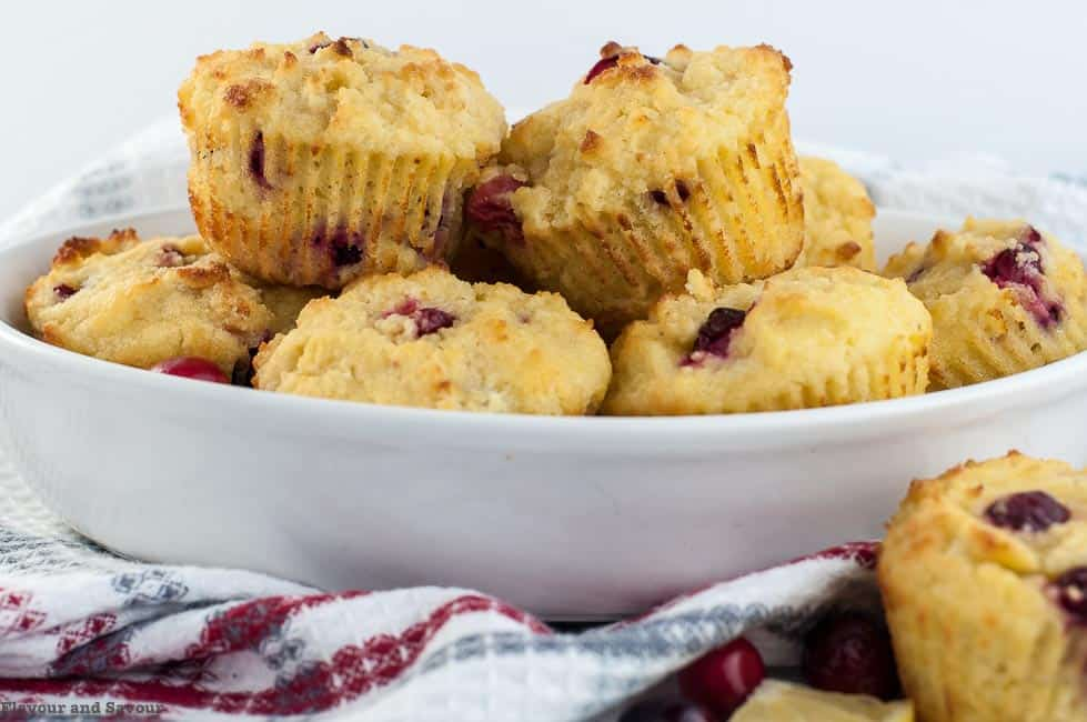 Gluten-free Cranberry Lemon Muffins in a bowl