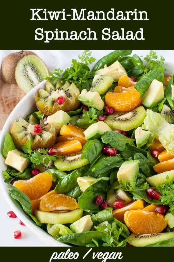 Kiwi Mandarin Spinach Salad with Creamy Avocado Dressing title
