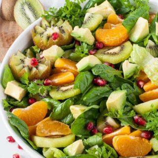 Kiwi Mandarin Spinach Salad with Creamy Avocado Dressing