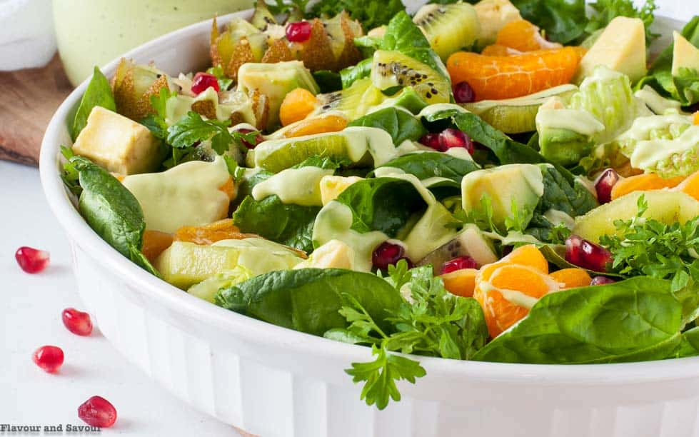 Kiwi Mandarin Spinach Salad with Creamy Avocado Dressing